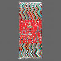 Traditional Berber rug from Azilal region of Morocco with psychedelic pattern